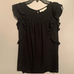 Loft black, ruffled top